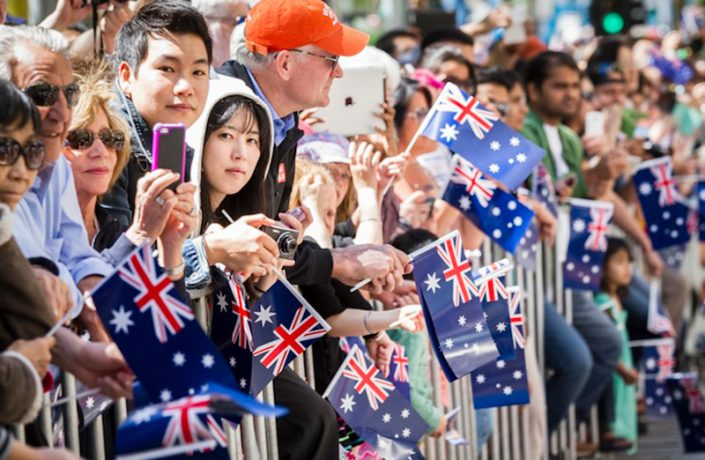 Australia-Day-crowd-Crowd-with-flags-watching-Parade